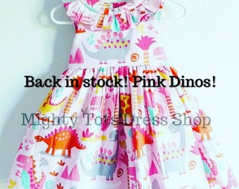 Girl dinosaur dress, girly dinosaur dress, girly dinosaur, Dinosaur dress, pink dinosaur dress, first birthday dress, back to school dress