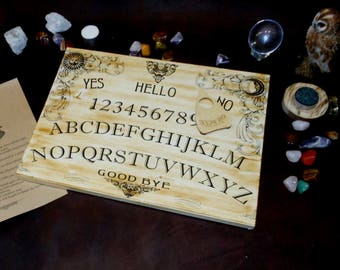 Wooden Ouija Board with planchette - Witchboard for spiritualism