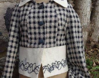 "jacket ""Sea"" woven silk and felt"