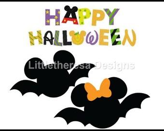 Mickey & Minnie Halloween Bat Iron On Transfer
