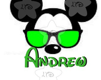 Mickey Sunglasses Personalized Iron On Transfer