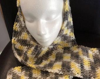 Crochet Scarf / Handmade / Gray, yellow and white / Super soft