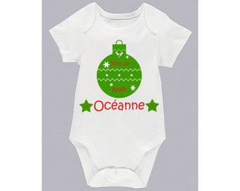 Onesie - my 1st Christmas - ball and flakes