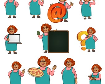 Mary Aunt clipart  – chef clipart,Baking clipart,character clipart,character clip art,chef clipart,chef clip art,chefs clipart