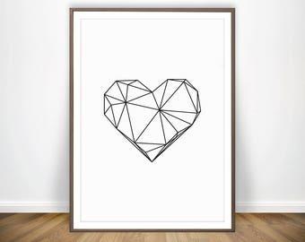 Digital Print Heart Wall Art Love Wall Art Geometric Print Heart Print Love Poster Love Sign Teen Room Decor Gallery Prints Bedroom Wall Art