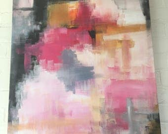 Pink pop abstract canvas painting