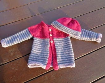girls vest wool and acrylic 18 months with Hat