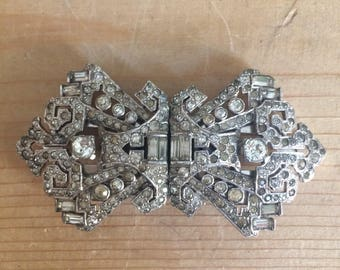 Art Deco 1930s Convertable Rhinestone Duette Brooch and Dress Clips