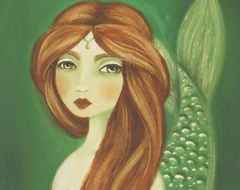 Fantasy Art Print, Mermaid Wall Art, Pisces Gift, Mermaid Print, Nautical Art Print, Nautical Painting