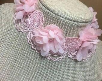 Pink flower choker.
