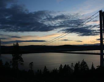 Landscape photography, Prints, Hogakustenbron, Bridges, Lakes, Sweden, Sunset, Beautiful views, Home decor, Blue, Unique, Wall Art, Mood
