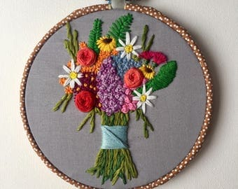 Floral bouquet embroidery hoop art, flowers embroidery hoop, bouquet wall art, flowery art, wall hanging