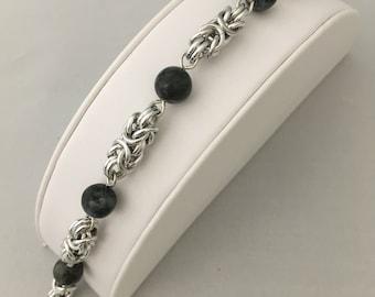 Blue Gray Labradorite Gemstone Silver Byzantine Chainmaille Bracelet Chain maille, Chainmail, Chain mail for Wedding, Birthday, Anniversary