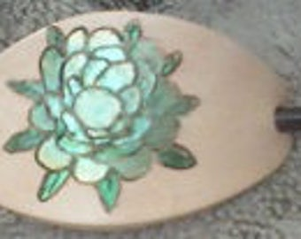 Hand Painted Succulent Leather Hair Barrette/Shawl Pin