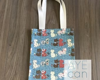 Basic tote bag - teal cats