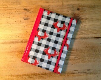 Plaid Moose Fabric Covered Journal
