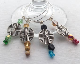 Swirl Wine Glass Charms (Set of 4)