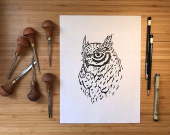 Handprinted Wise One Owl Art Print