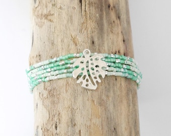 Bracelet Bohemian chic multi-turn fine seed beads Miyuki Mint green, Aqua green and silver plated, philodendron leaves