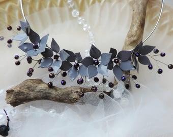 Grey Bridal Hair Piece Grey Gothic Headdress Floral Hair Piece Gothic Tiara Flower Crown Beaded HeadBand Violet Beads Grey Flowers Hair Band