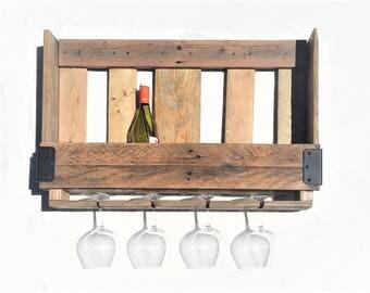 Weathered Oak Pallet Wine Rack