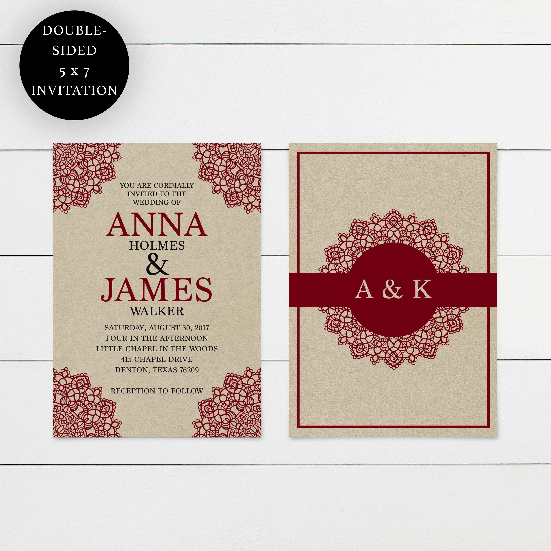 Printable Wedding Invitation, RSVP, and Details Card- Dawn ...