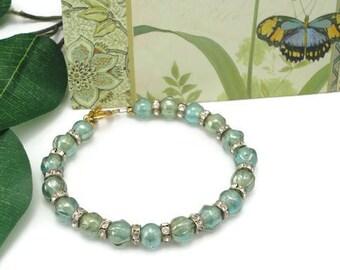 Fire Polished Bracelet, 7.75 in, Fashion Accessories, Beaded Jewelry, Beaded Bracelet, Seafoam Green, Swarovski Rondell Spacers, Gold Tone