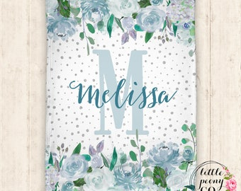 Personalized Blanket - Baby Blanket - Throw Blanket - Floral Blanket - Floral - Name Blanket - Personalized Gifts - Baby Shower Gift - Minky