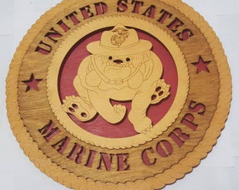 Marine Corps Devil Dog Wall Plaque Wooden Model