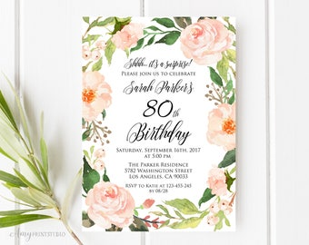 80th Birthday Invitation, Floral Birthday Invitation, Watercolor Birthday Invite, Any Age, PERSONALIZED, Digital file, #W34