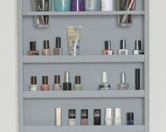 Gray Wall Mounted Makeup Organizer- Nail Polish Rack -Beauty Station - Bathroom Storage-Lipstick Organizer-makeup organizer