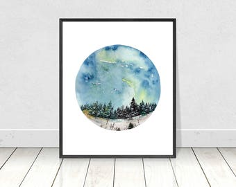 Snowy Landscape with Pine Trees Painting Art- Watercolor Home Decor Wall Art- Instant Download Printable Nature Painting- 8X10- 16X20