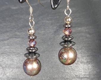Stainless steel, hematite, multireflets ref BOA166 AB pink swarovski Pearl Earrings