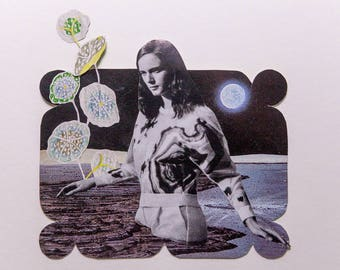 woman in space, original paper collage