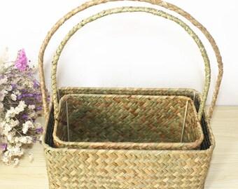 1 Set Handmade Woven Flower Basket with Handle