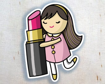 Lipstick Love Sticker | Planner Sticker | I Love Lipstick Makeup Beauty | Cute Sticker | Kawaii Sticker | Whimsical Illustration | Lips