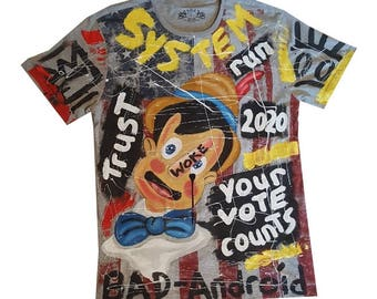 Large One of a kind, hand painted tee shirt.