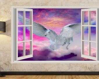 Fantasy Unicorn Flying Pegasus Wall Stickers, Kids Wall Mural, Wall Sticker Art Decal Mural  300a