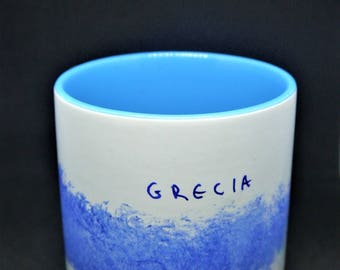 White Hand-painted Mug Cup