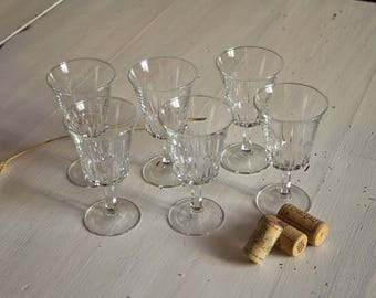 Set of 6 Art deco XIX footed wine glasses