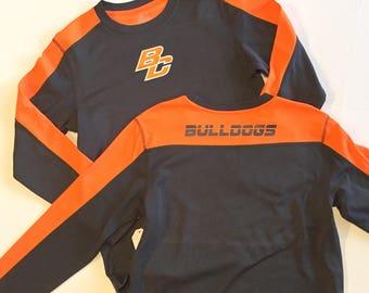 BOYS orange & grey fleece lined shirt
