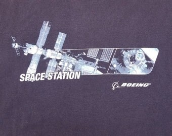 Vintage 90s NASA International ISS Space Station Boeing Moon T Shirt size 2XL
