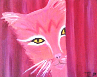 Pinky - Folky Cat Portrait - Oil Painting