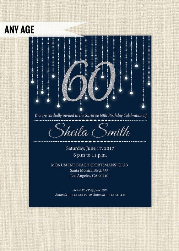 Silver navy blue birthday invitations 60th birthday invitation il570xn filmwisefo