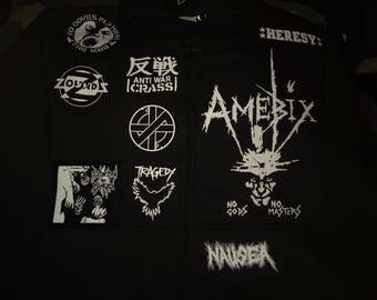 Crust Punk Anarchopunk Custom Patch Black Hooded Top Doom Crass Zounds Amebix Mob Tragedy Nausea Heresy D-Beat Punk Rock XXS-4XL