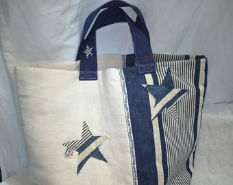 Vintage blue ticking, French metis canvas tote