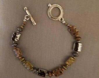 Multi color square metal bracelet