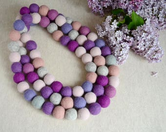 Felted merino wool Felt necklace ball Wool felt beads  Purple wool necklace Pink gray  Wool jewelry Colorfull happiness Scarf necklace