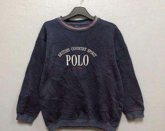 Rare!! POLO British Country Spirit Sweatshirt Big Logo Medium Size