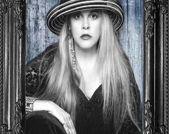 Stevie Nicks Blue Background  Rock Legend- Music Celebrity Art Print, Fleetwood Mac Fan Gift - 1970s Music Gift- 70 Music Print- Gypsy Decor